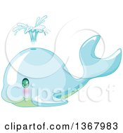 Clipart Of A Cute Baby Whale Spouting Royalty Free Vector Illustration