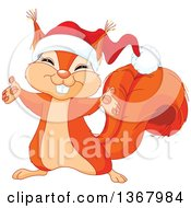 Clipart Of A Cute Red Squirrel Welcoming And Wearing A Christmas Santa Hat Royalty Free Vector Illustration