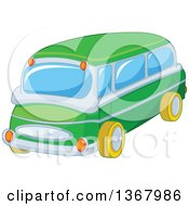 Clipart Of A Green Toy Bus Car Royalty Free Vector Illustration