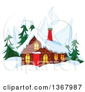 Clipart Of A Winter Cabin With Smoke Rising From The Chimneys Mountain Peaks And Evergreens Royalty Free Vector Illustration