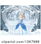 Clipart Of A Red Haired Blue Eyed Caucasian Princess Talking To A Bird On A Tree Lined Snowy Winter Path Near A Castle Royalty Free Vector Illustration