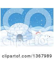 Clipart Of A Cute Baby Polar Bear Cub Riding On The Back Of An Adult By An Igloo In The Snow Royalty Free Vector Illustration by Pushkin