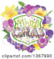 Clipart Of A Mardi Gras Shield With Daffodils Crocuses And Pansies Royalty Free Vector Illustration by Pushkin