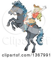 Retro Blond Caucasian Cowgirl Waving And Riding A Rearing Horse