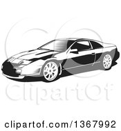 Clipart Of A Black And White Woodcut Nissan 300zx Sports Car Royalty Free Vector Illustration