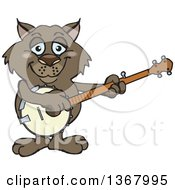 Clipart Of A Cartoon Happy Wombat Playing A Banjo Royalty Free Vector Illustration by Dennis Holmes Designs