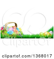 Clipart Of A Basket Of Easter Eggs And Flowers In Grass With Text Space Royalty Free Vector Illustration by AtStockIllustration