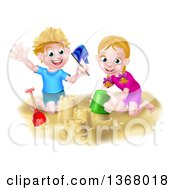 Happy White Boy And Girl Playing And Making Sand Castles On A Beach