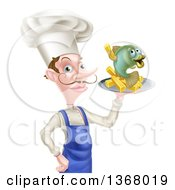 White Male Chef With A Curling Mustache Holding A Fish And Chips On A Tray