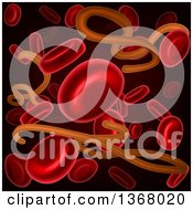 Clipart Of A Background Of 3d Blood Cells And The Ebola Virus On Black Royalty Free Vector Illustration by AtStockIllustration