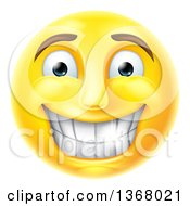Clipart Of A 3d Yellow Male Smiley Emoji Emoticon Face Grinning With Shiny Teeth Royalty Free Vector Illustration