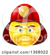 Clipart Of A 3d Yellow Male Fireman Smiley Emoji Emoticon Face Wearing A Helmet Royalty Free Vector Illustration by AtStockIllustration