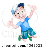 Clipart Of A Happy Caucasian Boy Jumping And Giving Two Thumbs Up Royalty Free Vector Illustration
