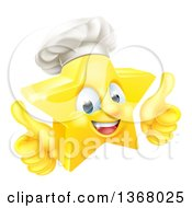 Clipart Of A 3d Happy Golden Chef Star Emoji Emoticon Character Giving Two Thumbs Up Royalty Free Vector Illustration by AtStockIllustration