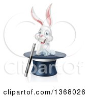 Clipart Of A Happy White Rabbit In A Top Hat With A Magic Wand Royalty Free Vector Illustration by AtStockIllustration