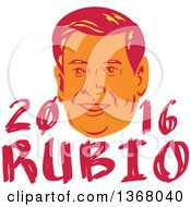 Clipart Of A Retro Portrait Of Marco Rubio With Text Royalty Free Vector Illustration