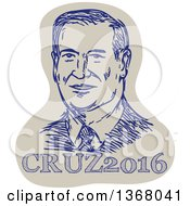 Clipart Of A Retro Sketched Portrait Of Ted Cruz Over Text Royalty Free Vector Illustration