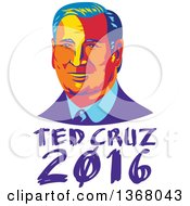 Clipart Of A Retro Portrait Of Ted Cruz Over Text Royalty Free Vector Illustration
