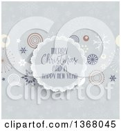 Clipart Of A Merry Christmas And A Happy New Year Greeting In A Round Frame With Retro Stars And Snowflakes Royalty Free Vector Illustration