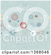 Clipart Of A Merry Christmas And A Happy New Year Greeting Over Retro Circles Stars And Snowflakes Royalty Free Vector Illustration