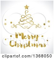 Clipart Of A Golden Merry Christmas Greeting And Swirl Tree With Stars On Shaded White Royalty Free Illustration