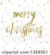 Clipart Of A Golden Merry Christmas Greeting And Stars On White Royalty Free Illustration by KJ Pargeter
