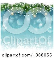 Clipart Of A Christmas Background Of Tree Branches And Lights With Snow Over Snowflakes And Stars On Blue Royalty Free Vector Illustration