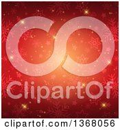 Clipart Of A Red Christmas Background Of Snowflakes Stars And Flares Royalty Free Vector Illustration