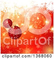 Clipart Of A Christmas Background Of 3d Red Glitter Baubles Over Orange With Bokeh Stars And Snowflakes Royalty Free Vector Illustration by KJ Pargeter