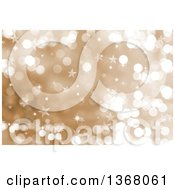 Clipart Of A Christmas Background Of Bokeh Flares And Stars On Gold Royalty Free Illustration