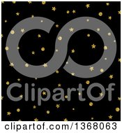 Clipart Of A Christmas Background Of Gold Stars And Dots On Black Royalty Free Illustration
