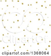 Clipart Of A Background Of Golden Christmas Stars And Dots On White Royalty Free Illustration
