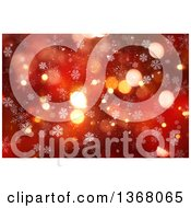 Clipart Of A Red Christmas Background With Bokeh Flares And Snowflakes Royalty Free Illustration