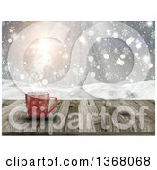 Clipart Of A 3d Red Snowflake Hot Cup Of Coffee On A Wood Table Over A Snowy Landscape Royalty Free Illustration by KJ Pargeter