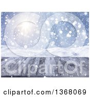 Clipart Of A 3d Wooden Deck Or Table With A View Of A Winter Landscape Royalty Free Illustration
