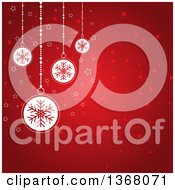 Clipart Of A Christmas Background Of White Snowflake Baubles Over Red With Stars Royalty Free Vector Illustration