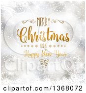 Clipart Of A Merry Christmas And A Happy New Year Greeting Over Silver Snowflakes Stars And Foliage Royalty Free Vector Illustration