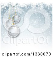 Clipart Of A Christmas Background Of 3d Transparent Glass Baubles Over Blue With Snowflakes Royalty Free Vector Illustration