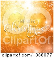 Clipart Of A Merry Christmas Greeting Over Orange Snowflakes Stars And Bokeh Royalty Free Vector Illustration
