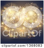 Clipart Of A Happy New Year Greeting Under Gold Fireworks Sparkles And Bokeh Royalty Free Vector Illustration by KJ Pargeter