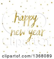 Clipart Of A Gold Happy New Year Greeting And Stars On White Royalty Free Illustration by KJ Pargeter
