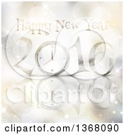 Clipart Of A Happy New Year 2016 Greeting With A Clock Over Bokeh Flares Stars And A Reflection Royalty Free Vector Illustration