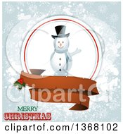 Clipart Of A Waving Snowman In A Frame With A Blank Ribbon Banner Holly Merry Christmas Text And Grungy Snowflakes Royalty Free Vector Illustration by elaineitalia