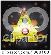Abstract Christmas Tree Made Of 3d Yellow Stripes And Colorful Baubles Over Gray With Flares