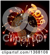 Clipart Of A 3d Sparkly Earth Disco Ball With Fireworks And 2016 Royalty Free Vector Illustration by elaineitalia