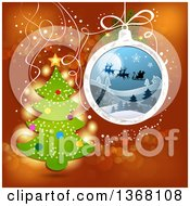 Clipart Of A Christmas Tree With A Bauble Of Silhouetted Santa Flying His Sleigh Over Red Royalty Free Vector Illustration
