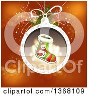 Clipart Of A Christmas Bauble With A Snowman Stocking Over Red Royalty Free Vector Illustration