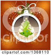 Clipart Of A Christmas Tree Bauble Over Red Royalty Free Vector Illustration