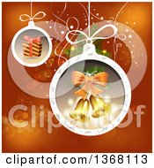 Clipart Of Christmas Baubles With A Gift And Bells Over Red Royalty Free Vector Illustration