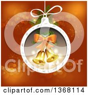 Clipart Of A Christmas Bauble With Bells Over Red Royalty Free Vector Illustration